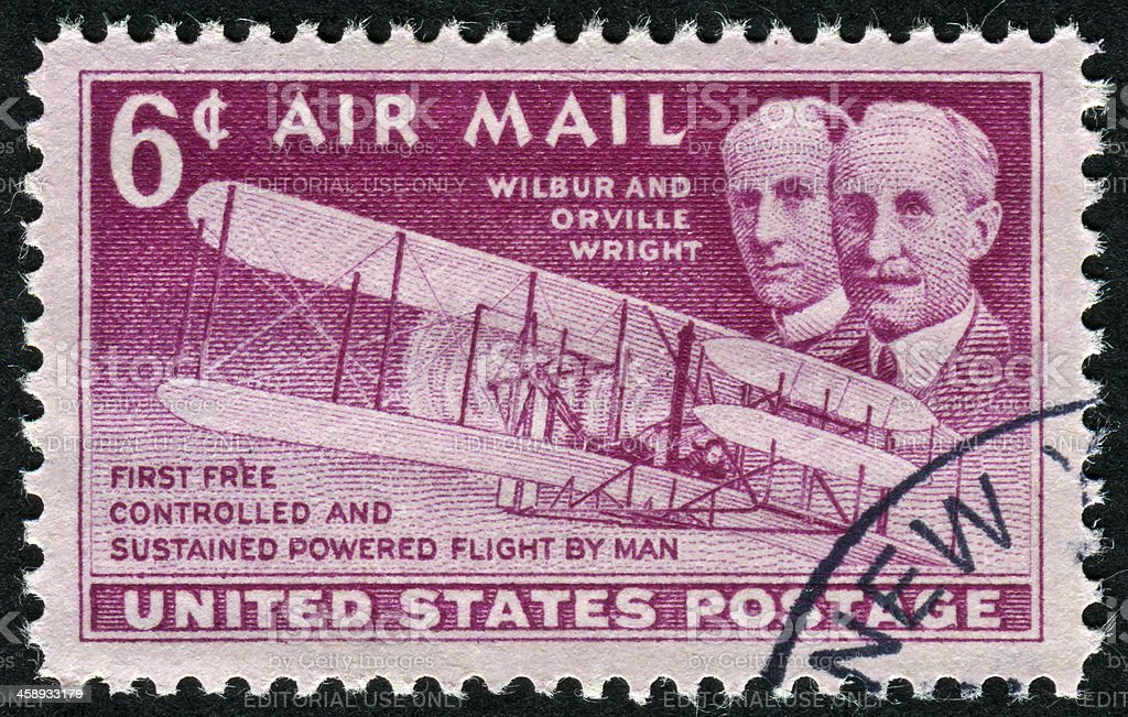Wilbur And Orville Wright Stamp royalty-free stock photo