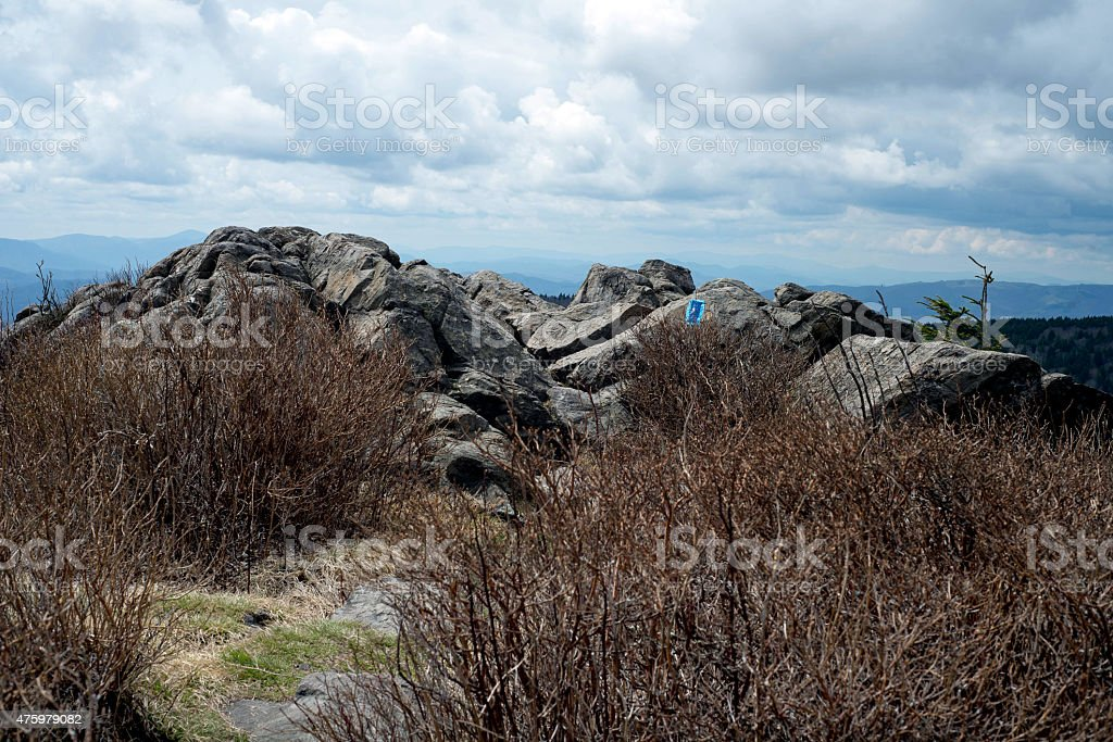 Wilburn Ridge with trail marking stock photo