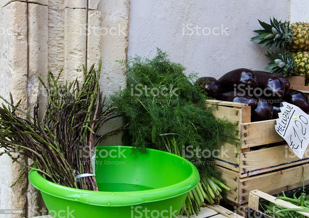 Wild Asparagus and Fennel at Outdoor Spring Market, Sicily stock photo