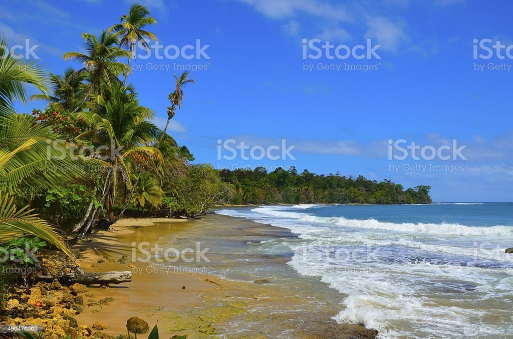 Wild beach Bocas del Toro in Panama stock photo
