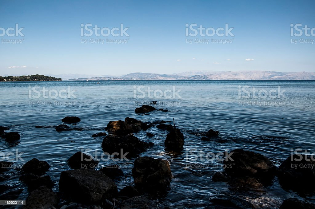 wild beach in Corfu royalty-free stock photo