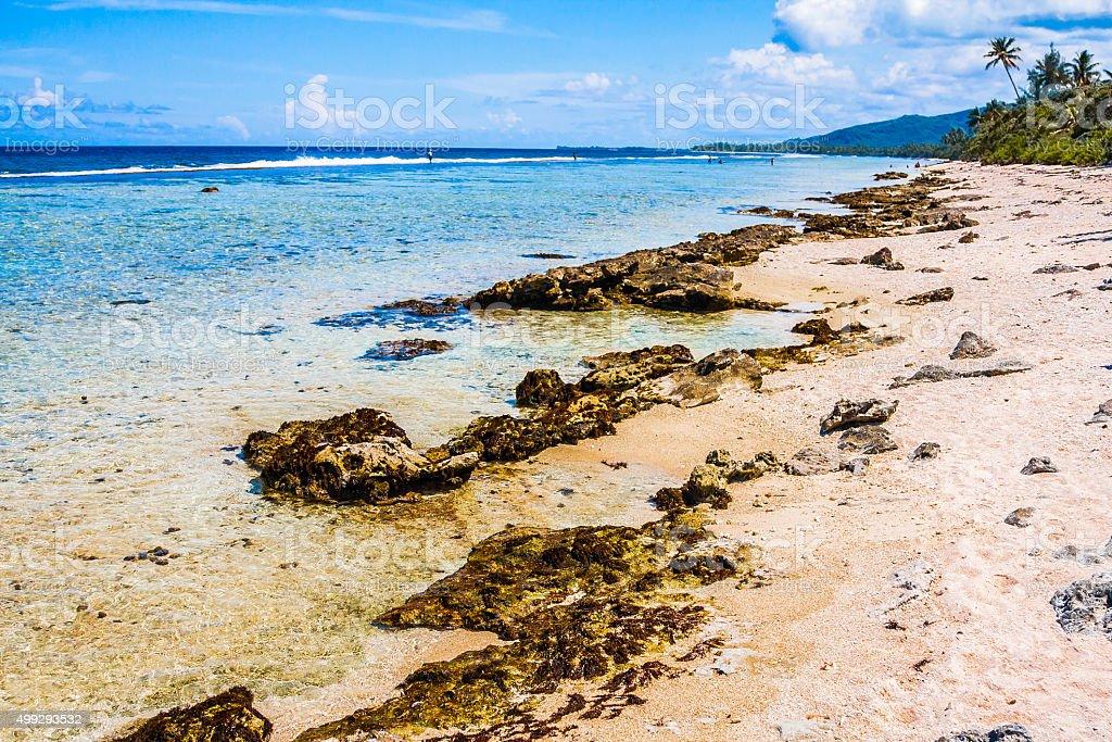 Wild Beach in Polynesia stock photo