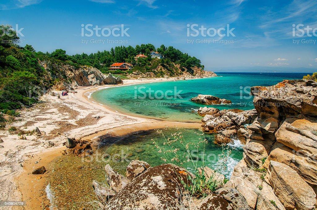 Wild beach in Vourvourou, Sithonia, Greece stock photo