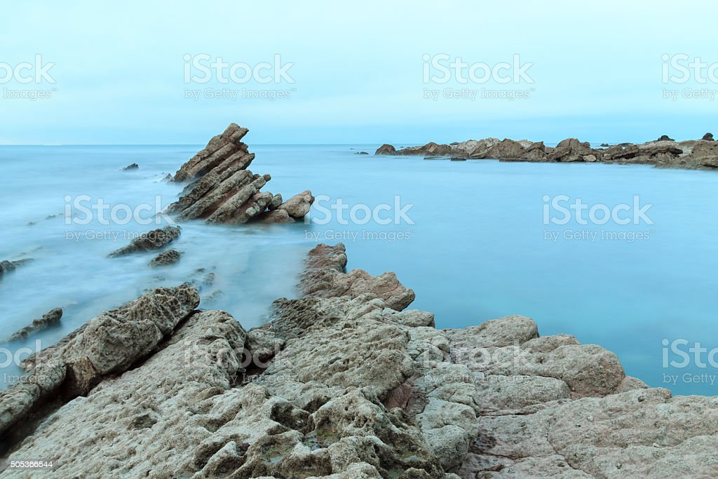 Wild beach of Sopelana in Sopelana, Spain stock photo