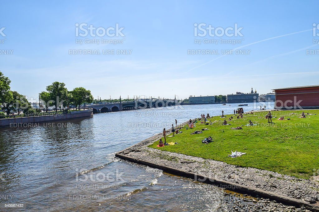 Wild beach of the Peter and Paul fortress stock photo