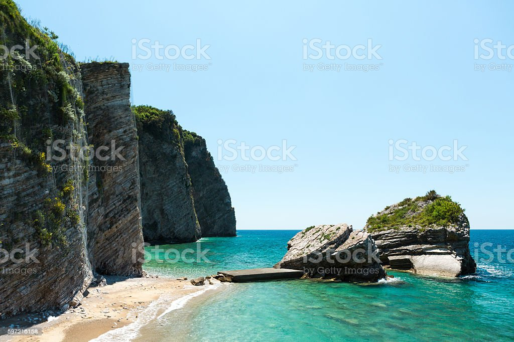 Wild beach on Sveti Nikola island in Budva, Montenegro stock photo