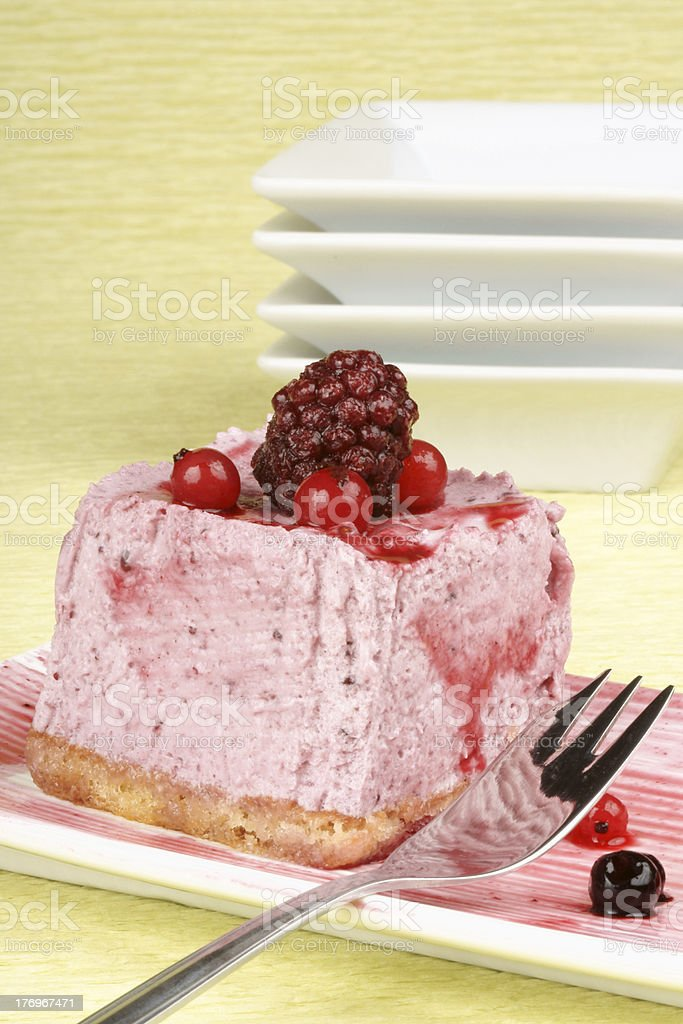 Wild berries bavarian cream stock photo
