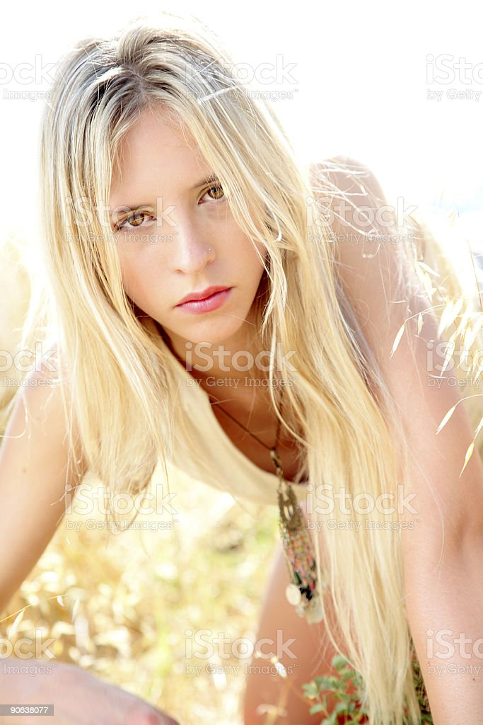 Wild blonde royalty-free stock photo