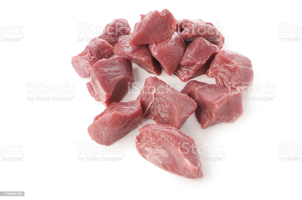 wild boar meat cut into cubes stock photo