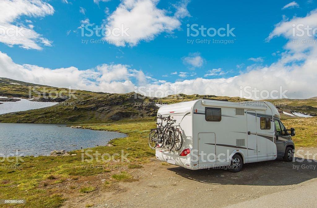 Wild Camping in a Camper stock photo