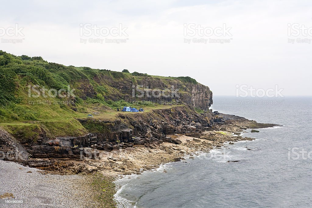 Wild camping on the coast royalty-free stock photo