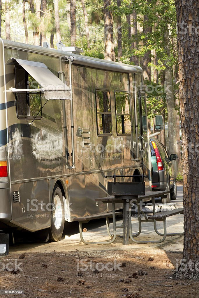 Wild camping?The best of both worlds stock photo