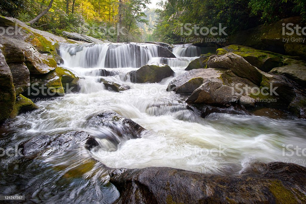 Wild Chattooga River Headwaters Geology Western NC Flowing Waterfall Nature royalty-free stock photo