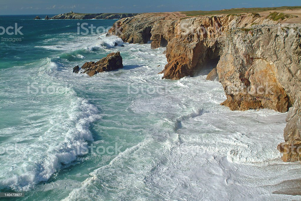 Wild coast in Brittany, France stock photo