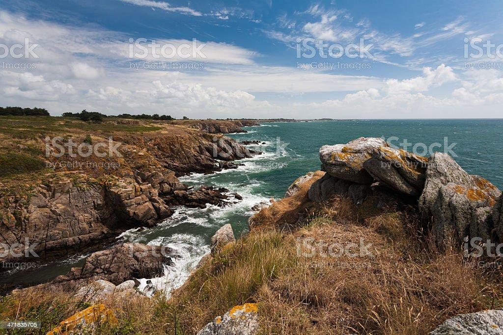 Wild coast of Ile d'Yeu in Vendee, France stock photo
