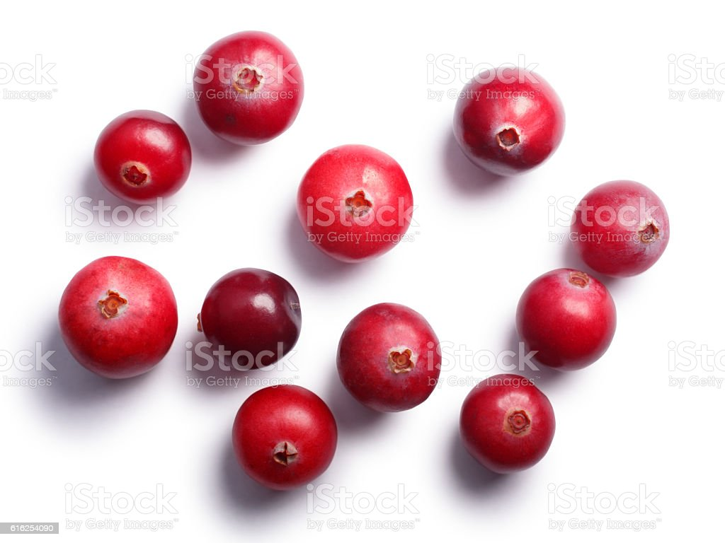 Wild cranberries, top view,  paths stock photo