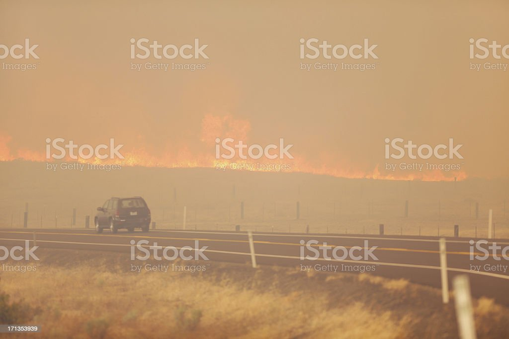 Wild Fire getting Close to the Road royalty-free stock photo
