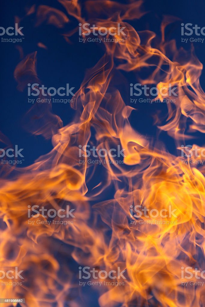 Wild flame and blue sky stock photo