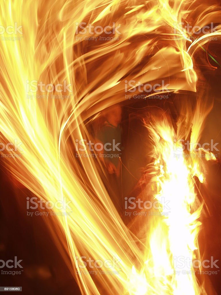 Wild Flames in Motion with Face royalty-free stock photo