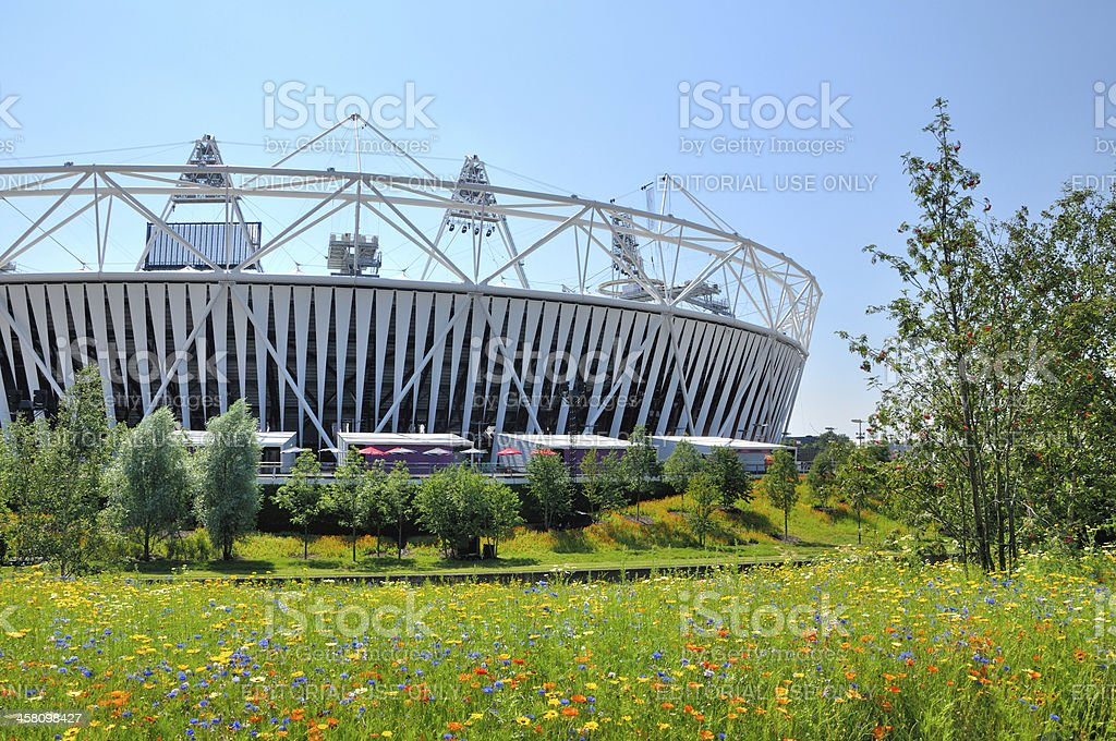 Wild Flowers and Trees with Olympic Stadium stock photo
