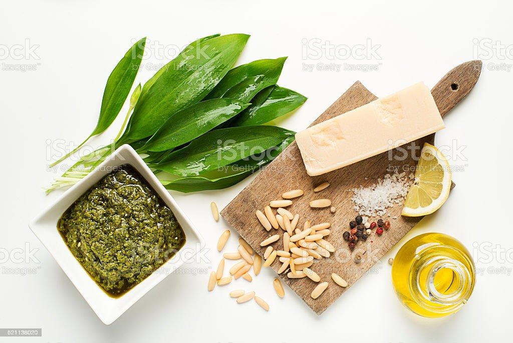 Wild garlic pesto stock photo