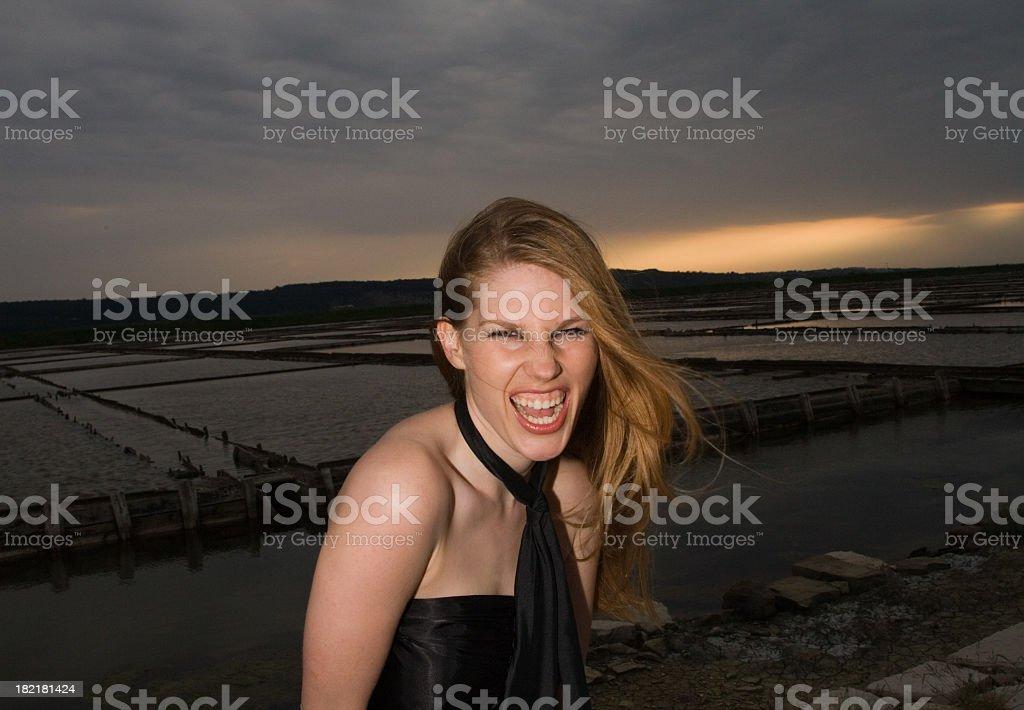 Wild Girl Laughing royalty-free stock photo