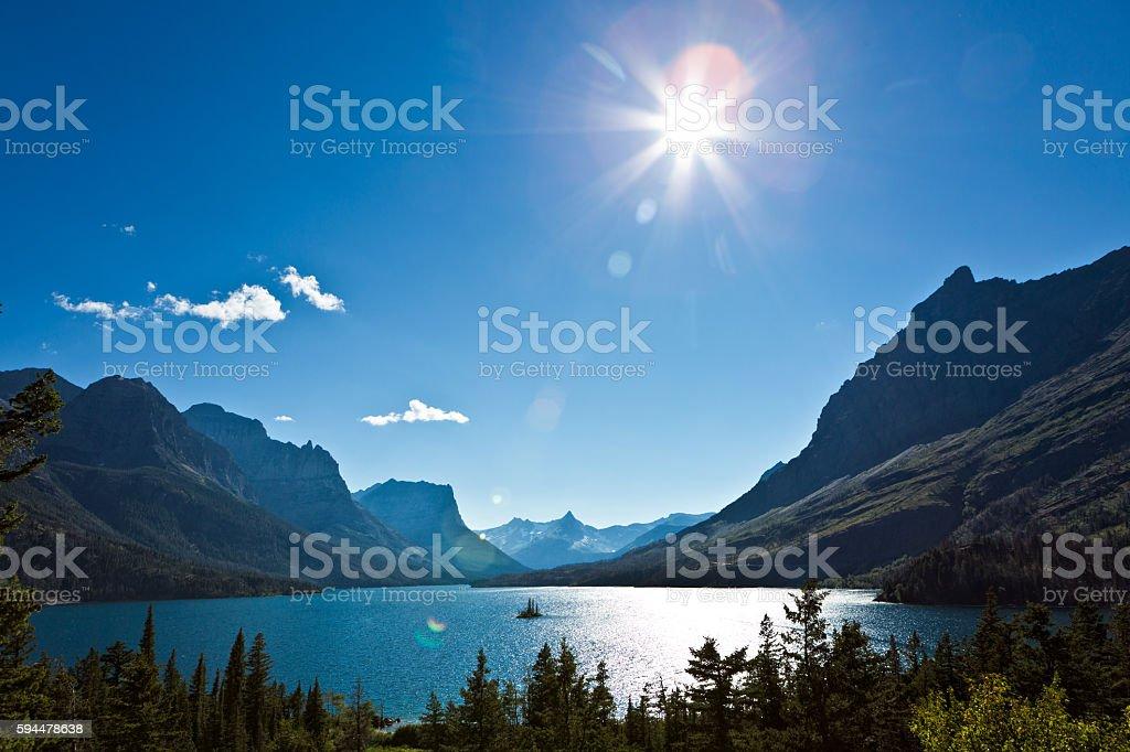 Wild Goose Island in Glacier National Park, Washington, USA stock photo