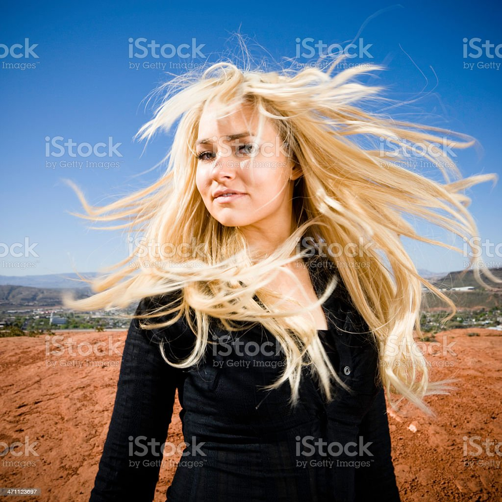 Wild Hair Girl Portrait stock photo