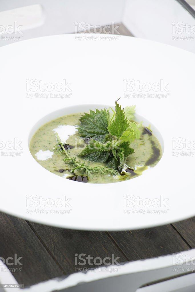 wild herbs soup stock photo