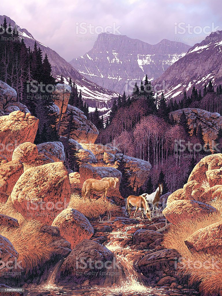 Wild Horses in the Rockies royalty-free stock photo
