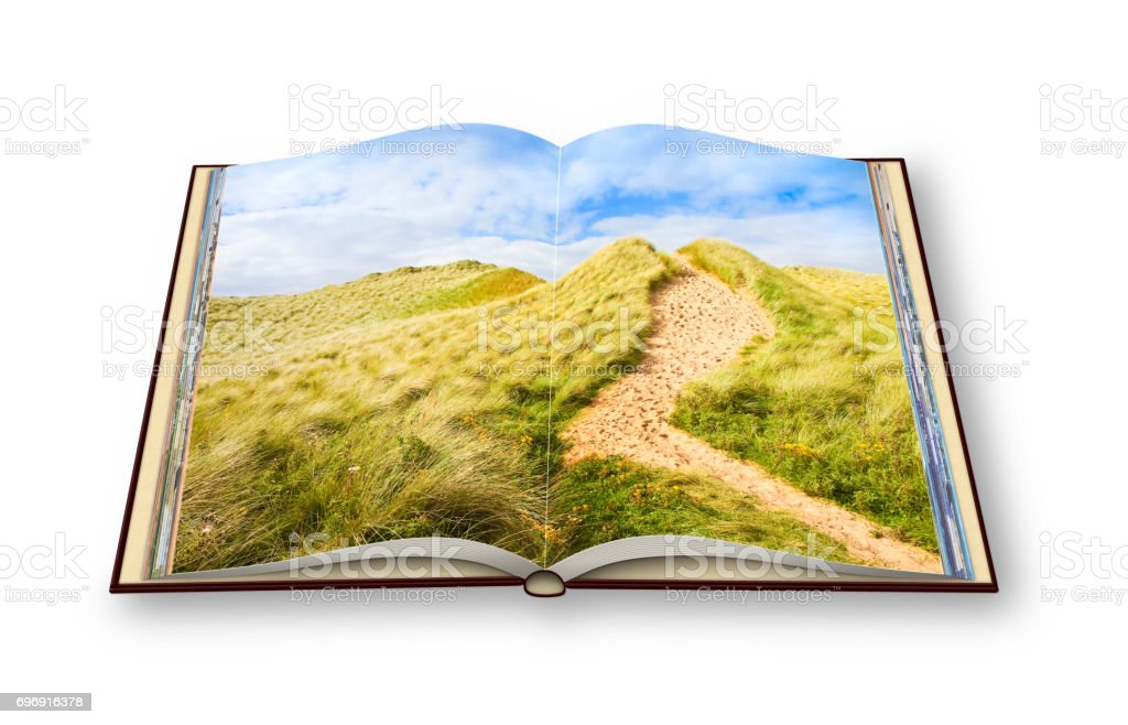 Wild Irish landscape with sand dunes - Nature trail to the beaches and the ocean(Mullagmore - Ireland) - 3D render of an opened photo book.' I'm the copyright owner of the images used in this 3D render. stock photo