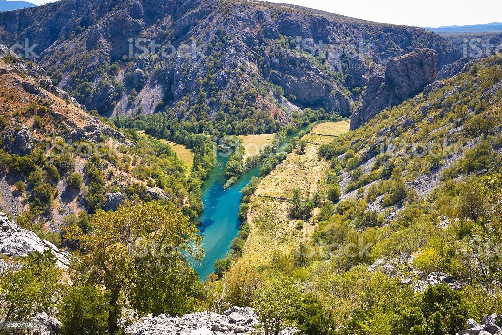 Wild landscape of Zrmanja and Krupa rivers canyon stock photo