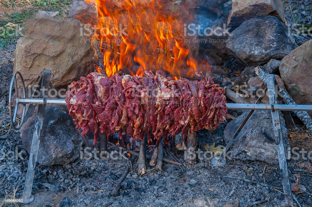 wild life cooking for barbecue stock photo