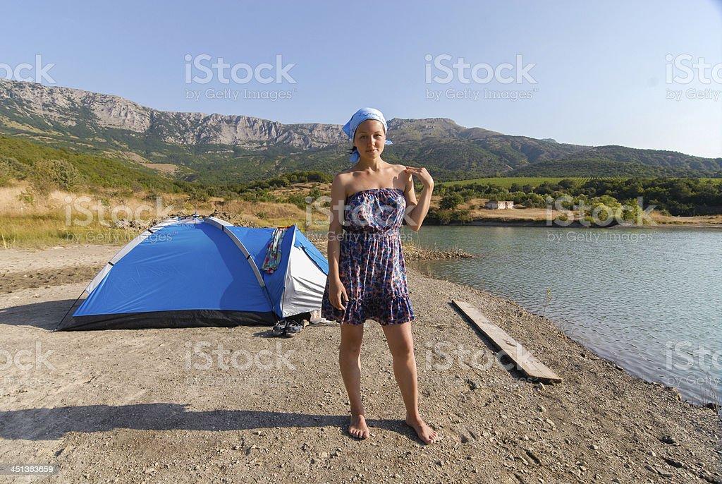 Wild living near the mountain lake stock photo