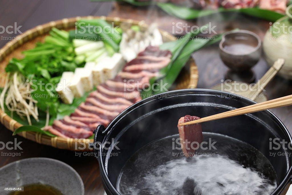 wild mallard duck hot pot, japanese one pot dish stock photo