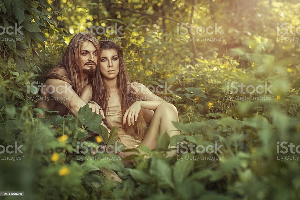 Wild men in the bushes. royalty-free stock photo