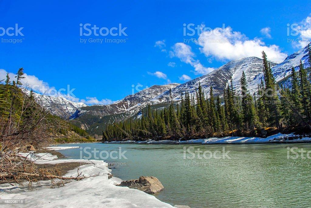Wild mountain stream in Alaska in Spring stock photo
