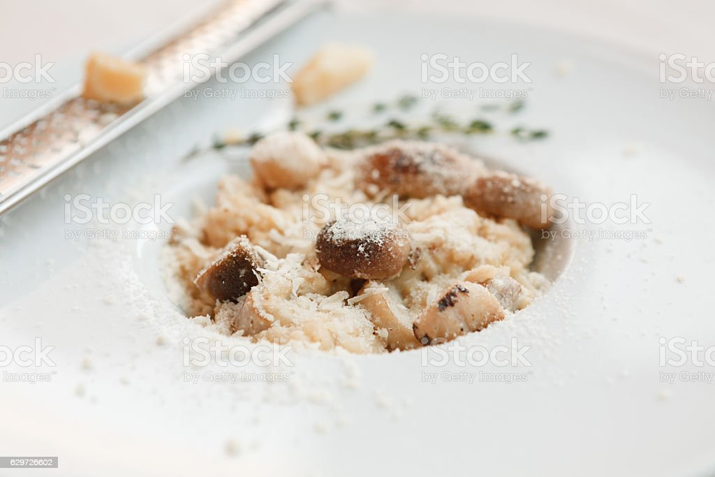 Wild mushrooms risotto with rosemary and parmesan, italian cuisine closeup stock photo
