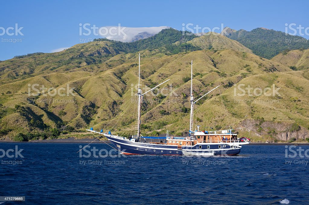 Wild North Coast with Liveaboard at Sangeang Island, Sumbawa, Indonesia stock photo