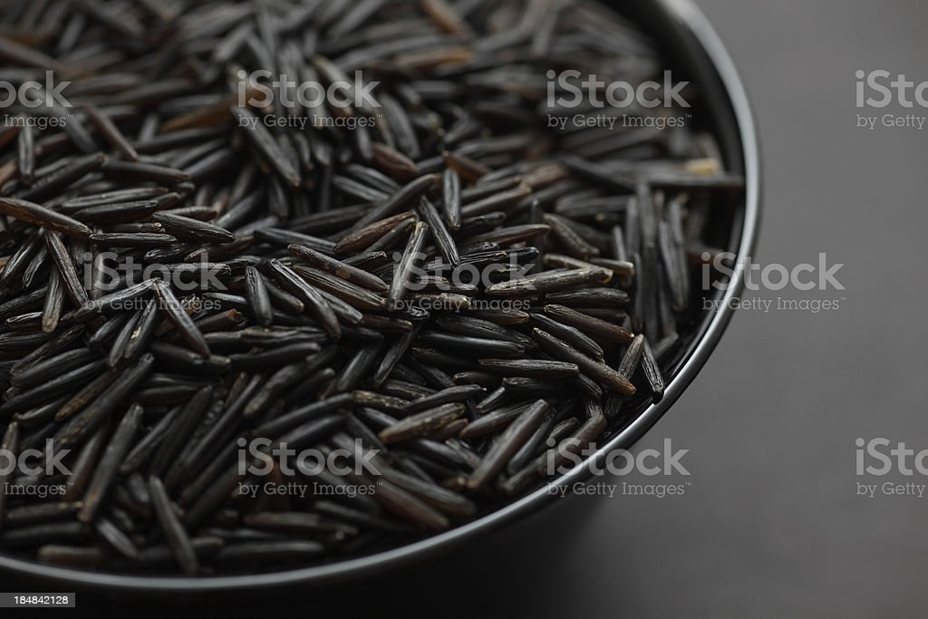Wild rice in a bowl stock photo