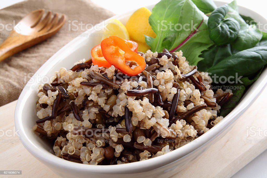 Wild Rice,Quinua,Amaranthus Salad stock photo