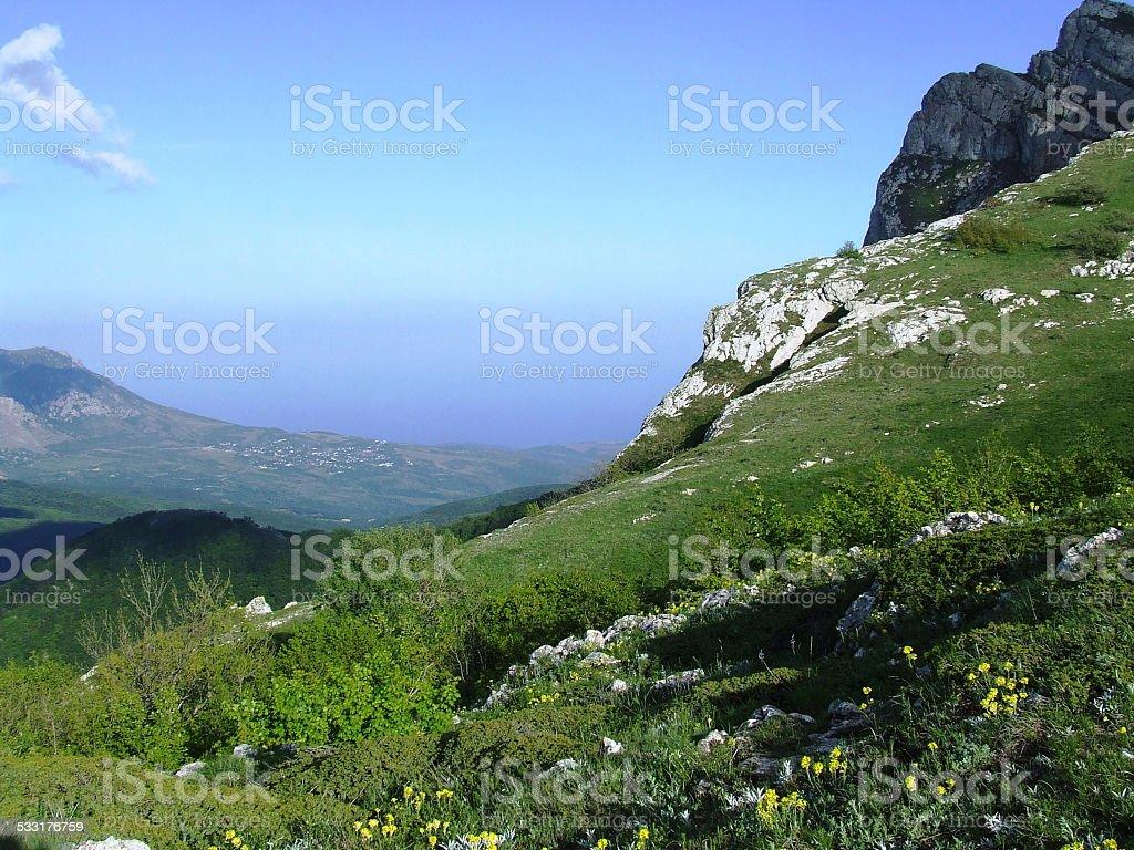 Wild rock landscape. Chatyr-Dag. stock photo
