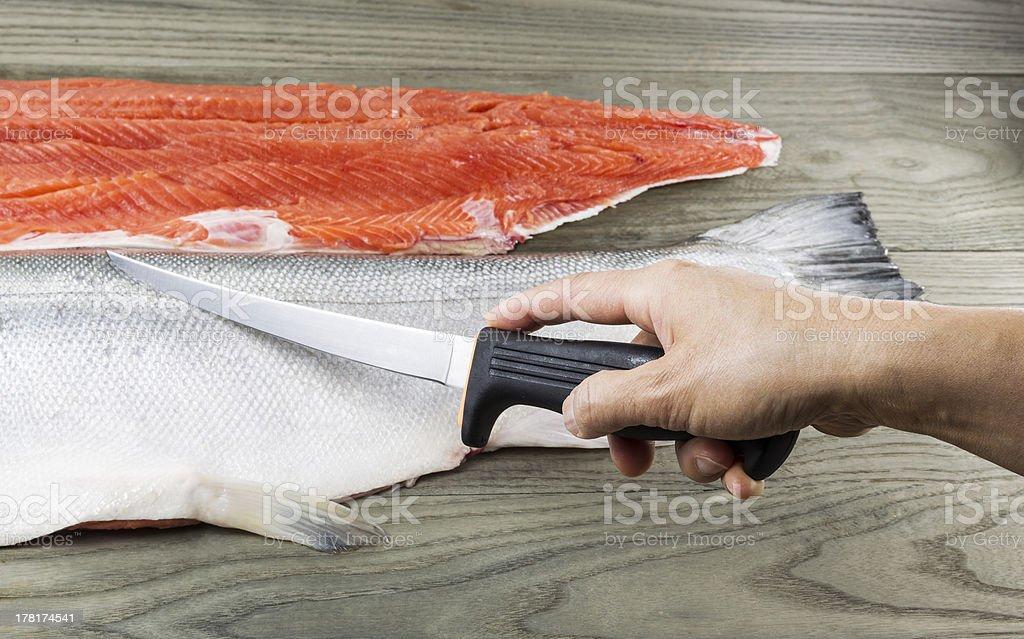 Wild Salmon being Fillet royalty-free stock photo