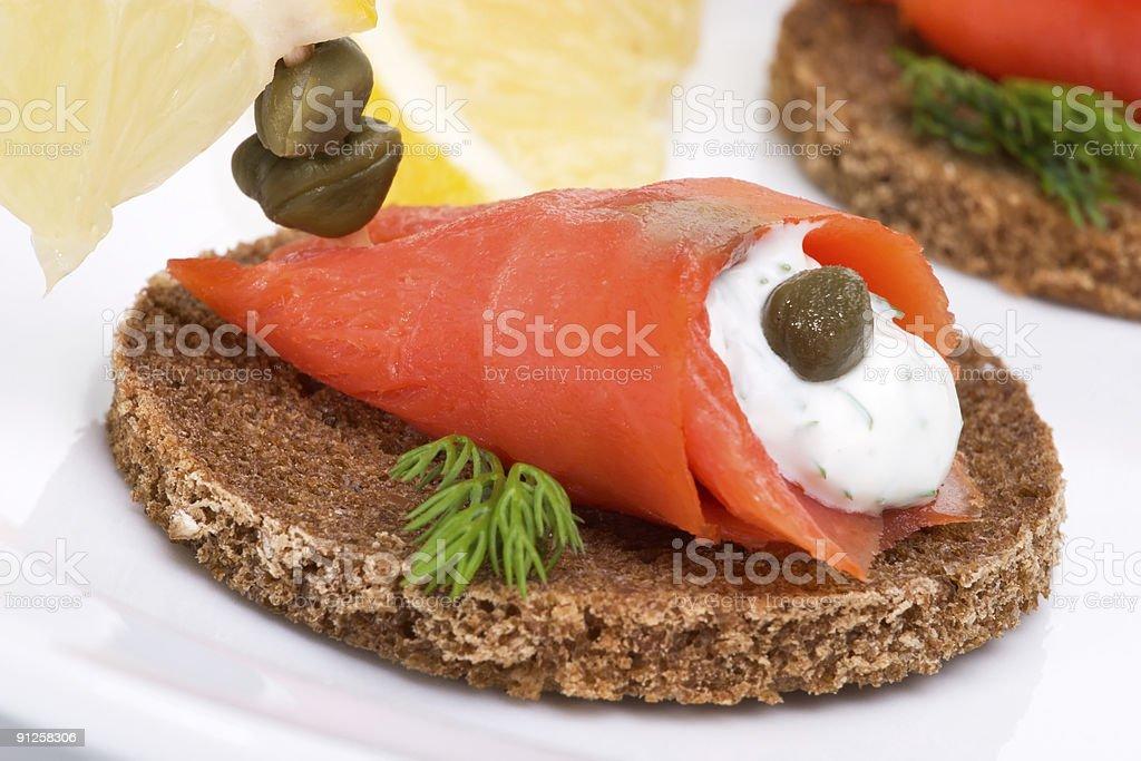 Wild salmon canapes royalty-free stock photo