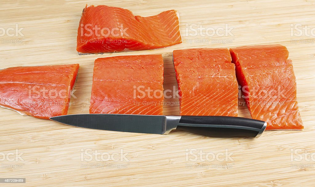 Wild Salmon Cut in Pieces for Cooking royalty-free stock photo