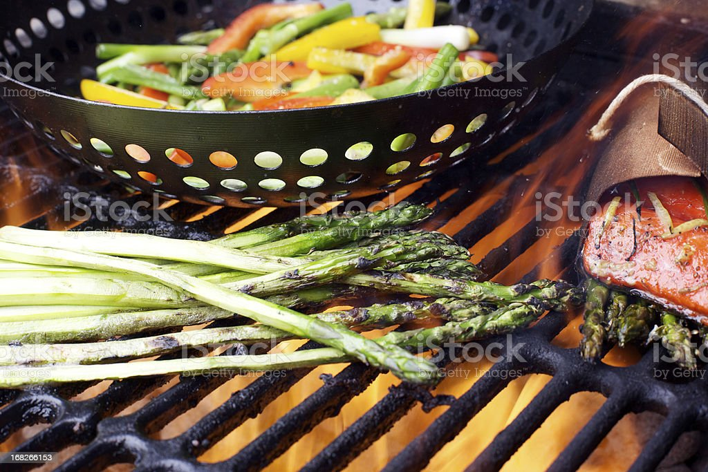 Wild Salmon fillet asparagus grilled peppers bbq royalty-free stock photo