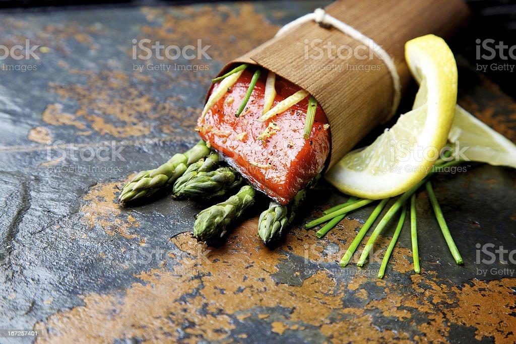 Wild Salmon fillet outdoor cedar wrap bbq grilled royalty-free stock photo