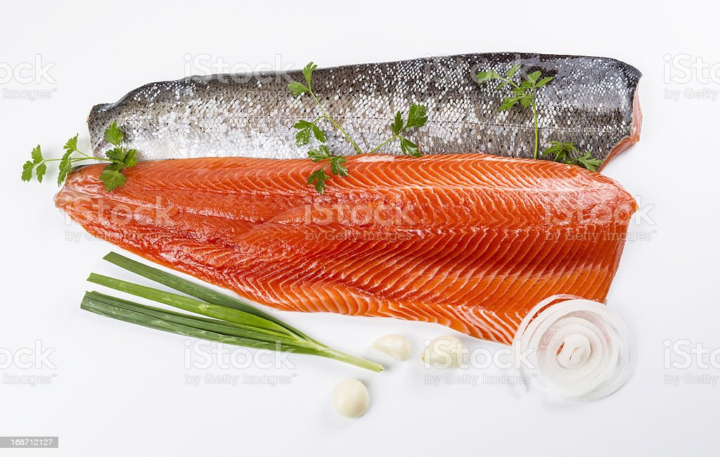 Wild Salmon Fillets and Herbs royalty-free stock photo