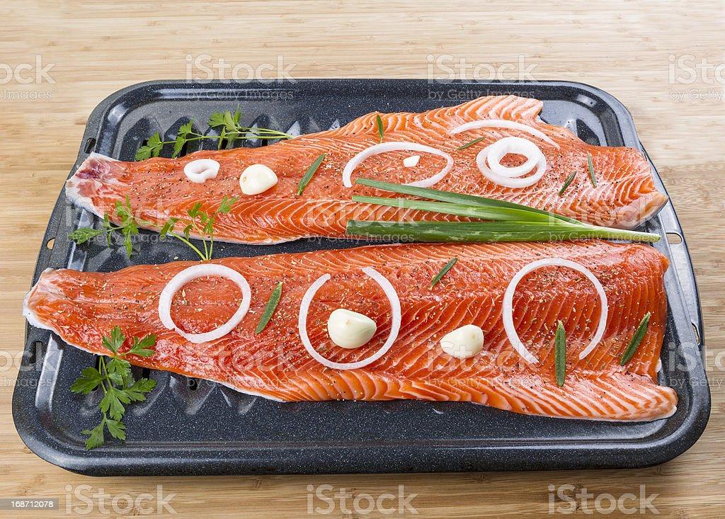 Wild Salmon Fillets royalty-free stock photo