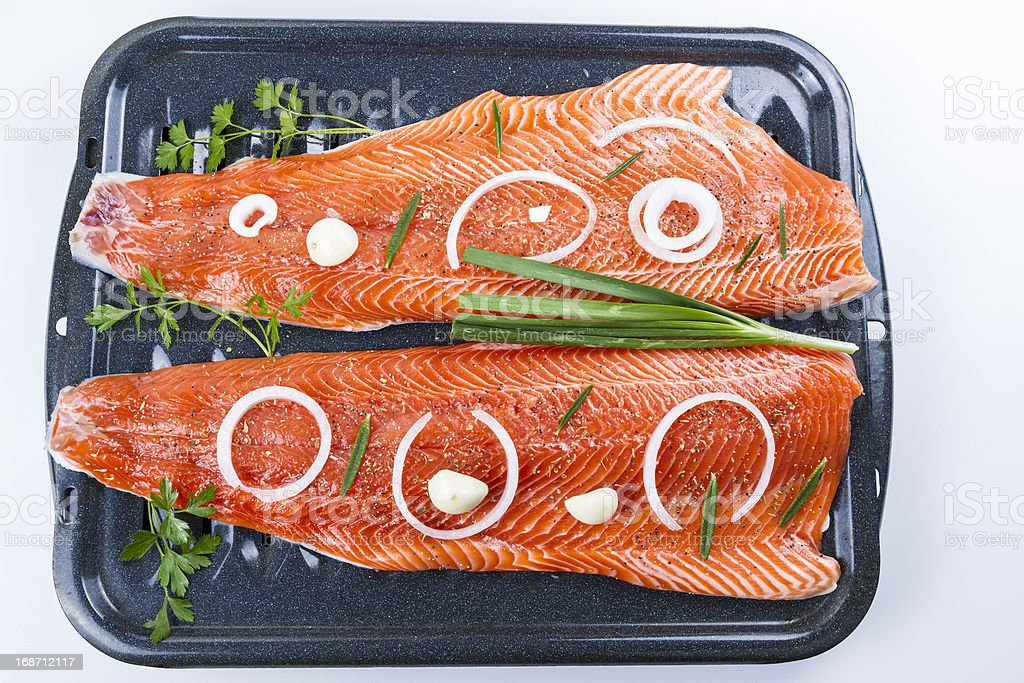 Wild Salmon Fillets Ready for Baking royalty-free stock photo